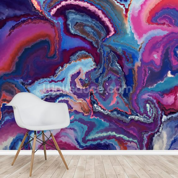 Geode wall mural room setting