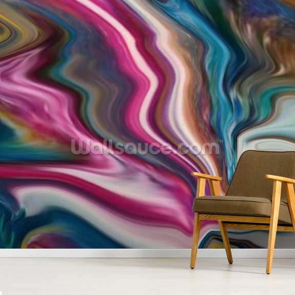 Rainbow lightning wallpaper mural room setting