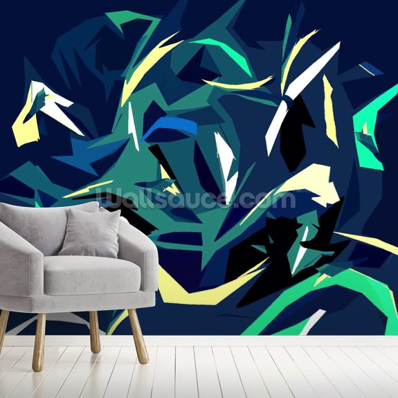 Abstract forest wallpaper mural room setting