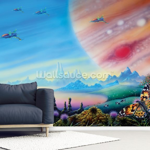 Farmer in the Sky wallpaper mural room setting