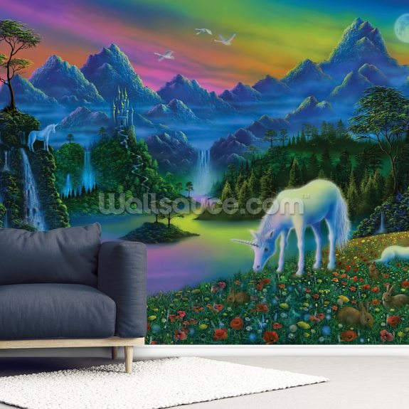 Land of the Unicorn mural wallpaper room setting