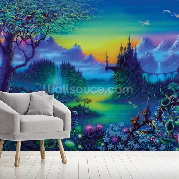 Quirky Castle wall mural room setting