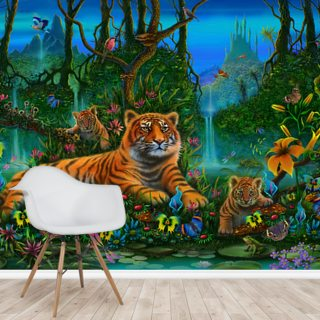 Tigers in Jungle Wallpaper Wall Murals