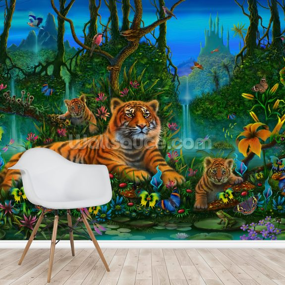 Tigers in Jungle wallpaper mural room setting