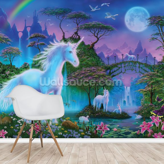 Unicorn Bridge mural wallpaper room setting
