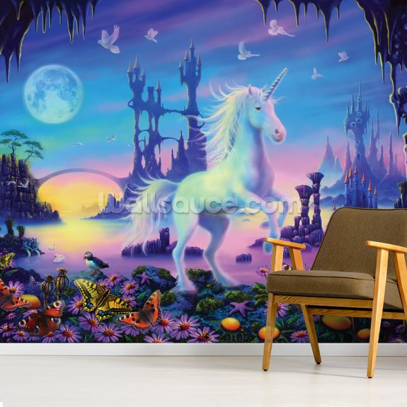 Unicorn Cavern wall mural room setting