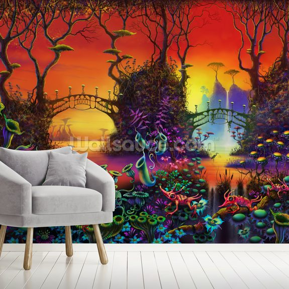 Red Jungle wallpaper mural room setting