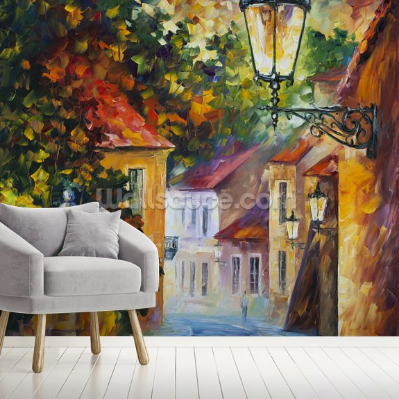 Evening wall mural room setting