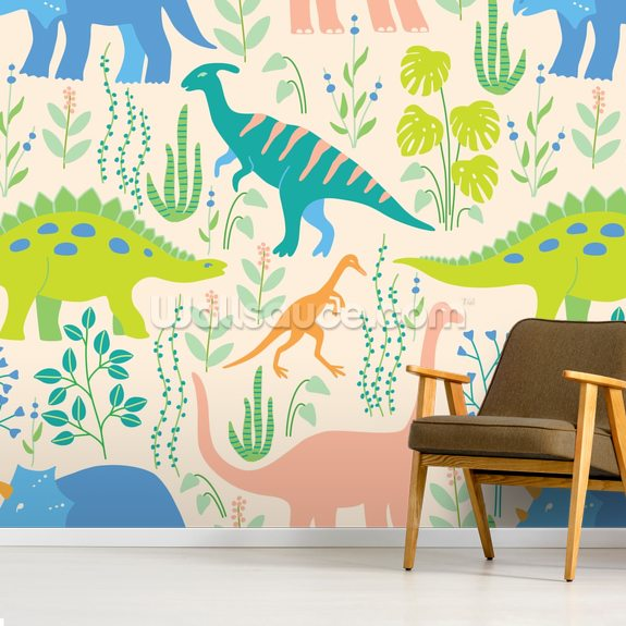 Dinosaurs wallpaper mural room setting