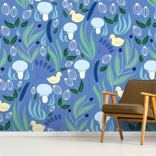 Ducks Blue Wallpaper Wall Murals