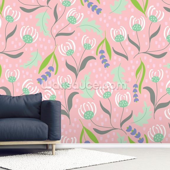 Florals Pink wall mural room setting