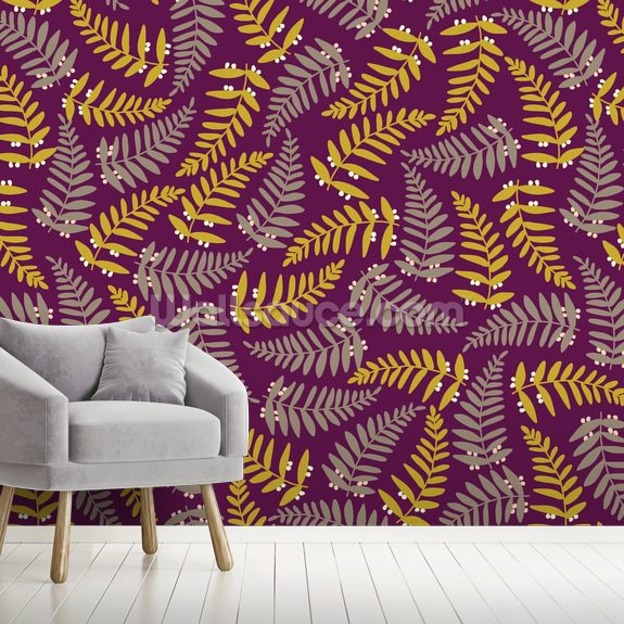 Organic Interweaving Dark wall mural room setting