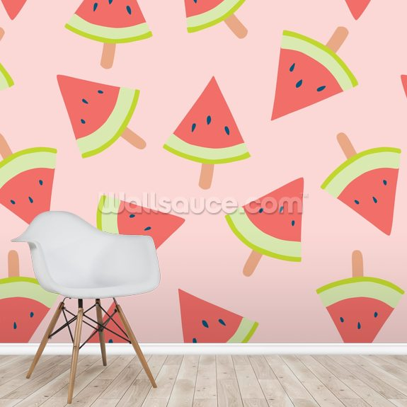 Water Melon Light wallpaper mural room setting