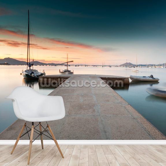 Puerto Pollensa Jetty mural wallpaper room setting