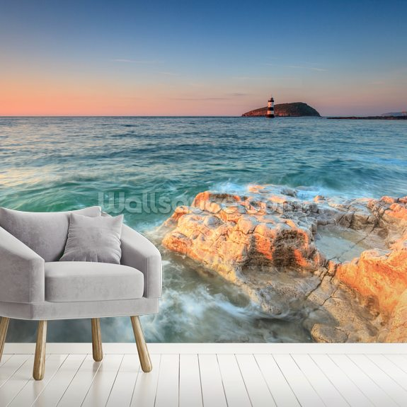 Penmon Lighthouse Sunset wallpaper mural room setting