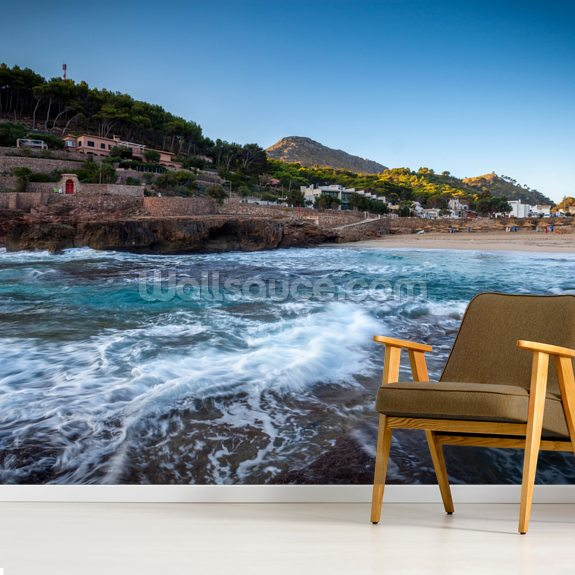 Cala San Vincente Beach mural wallpaper room setting
