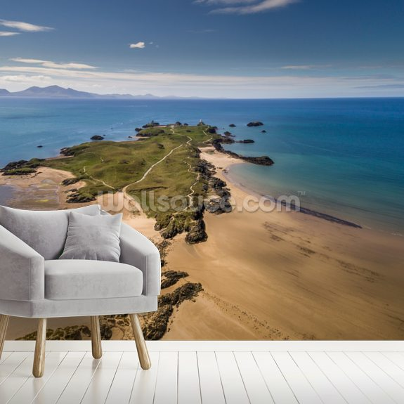Llanddwyn Island Aerial mural wallpaper room setting