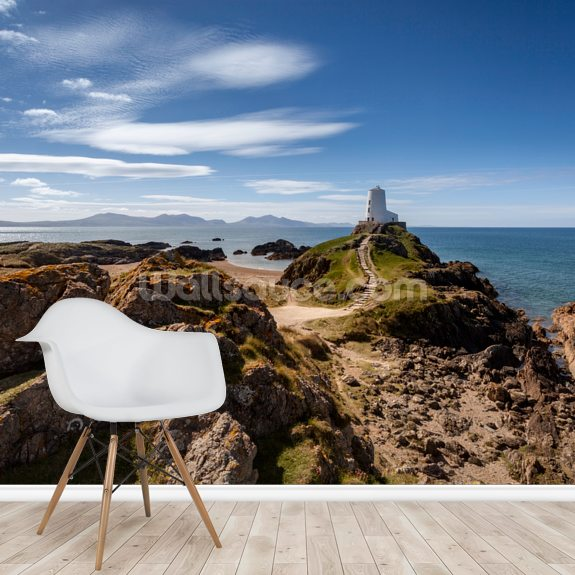 Llanddwyn Island Lighthouse wallpaper mural room setting