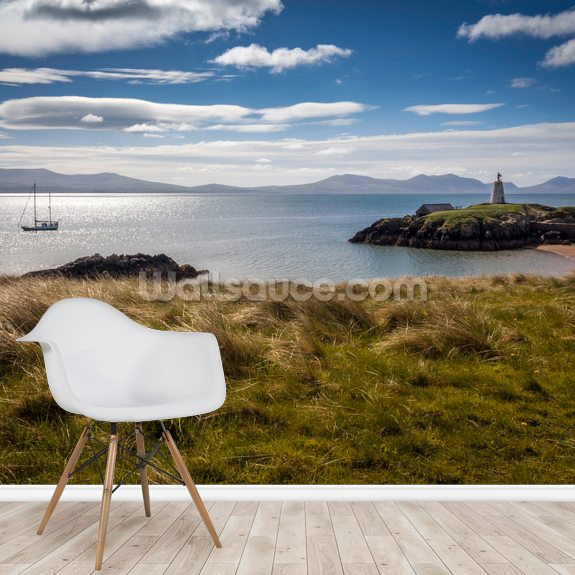 Llanddwyn Island Sailboat mural wallpaper room setting
