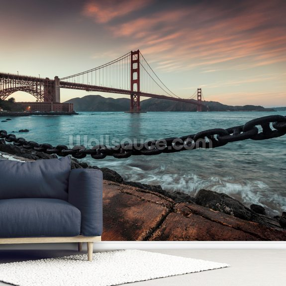Golden Gate Bridge mural wallpaper room setting