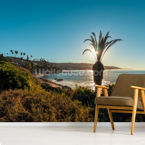Laguna Beach Palm Tree mural wallpaper room setting