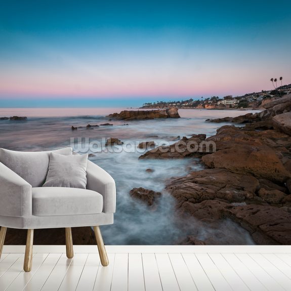 Laguna Beach Pinks mural wallpaper room setting