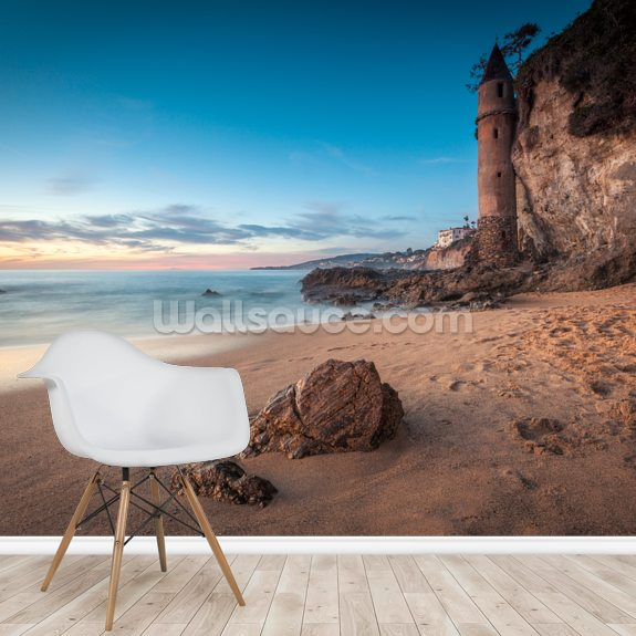 Laguna Beach Pirate Tower mural wallpaper room setting