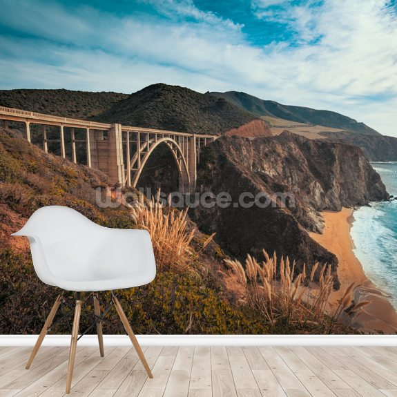 California Bixby Bridge wallpaper mural room setting