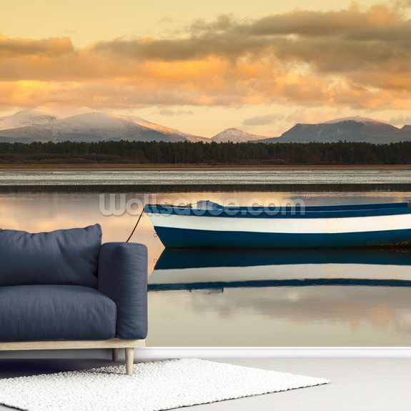 Calm of the Lake mural wallpaper room setting