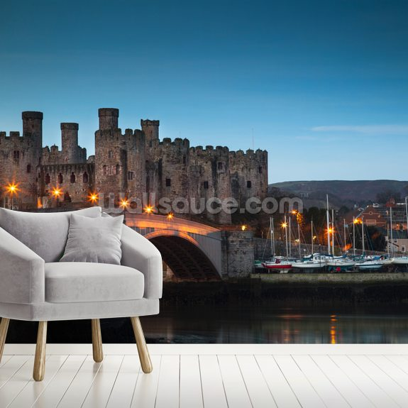 Conwy Castle Sunrise Wales wall mural room setting