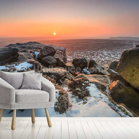 Stanage Edge Winter Sunrise mural wallpaper room setting