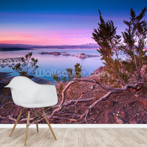 Nevada Sunset mural wallpaper room setting