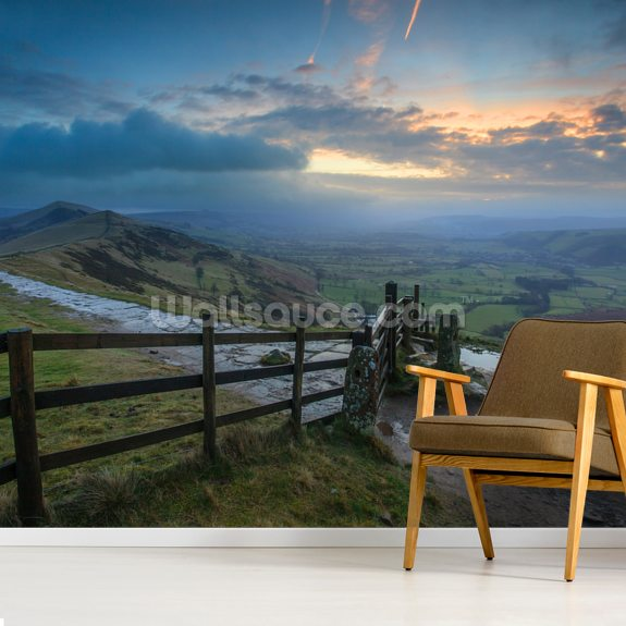 Mam Tor Fence wall mural room setting