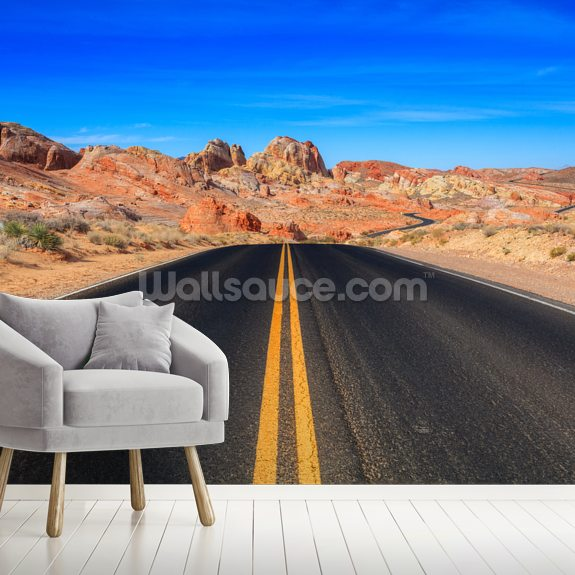 Valley of Fire Road wallpaper mural room setting