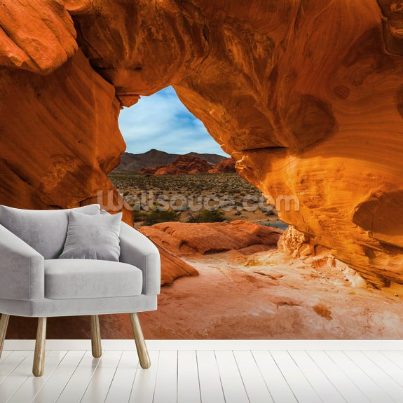 Valley of Fire Rock mural wallpaper room setting