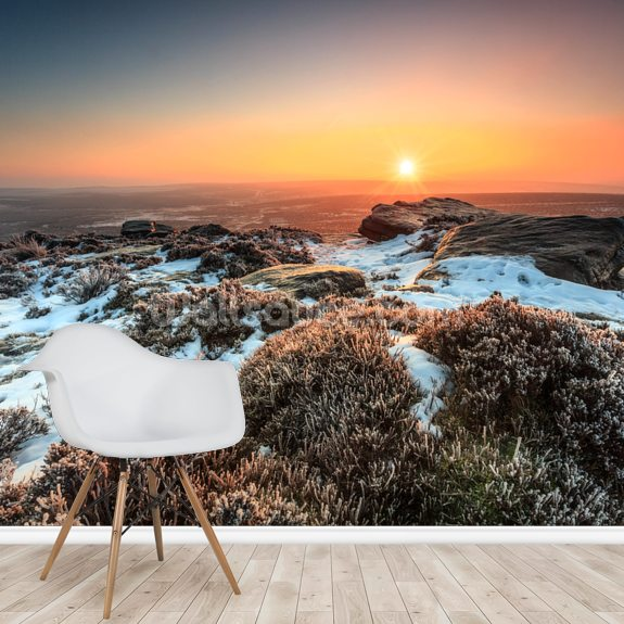 Stanage Edge Winter Sunburst wall mural room setting