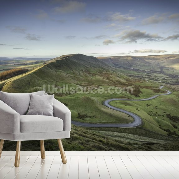 Mam Tor Road mural wallpaper room setting