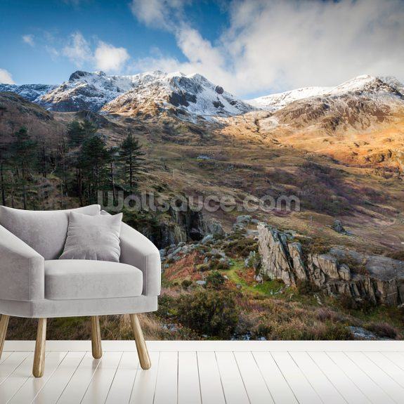 Snow Mountains Snowdonia wallpaper mural room setting