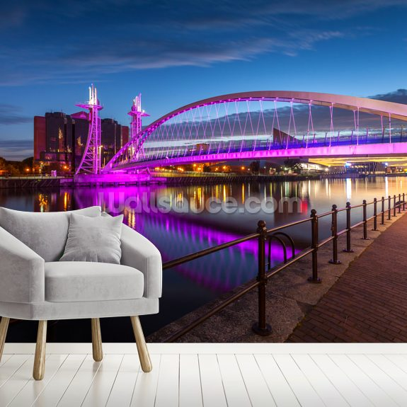 Salford Quays Lift Bridge wallpaper mural room setting