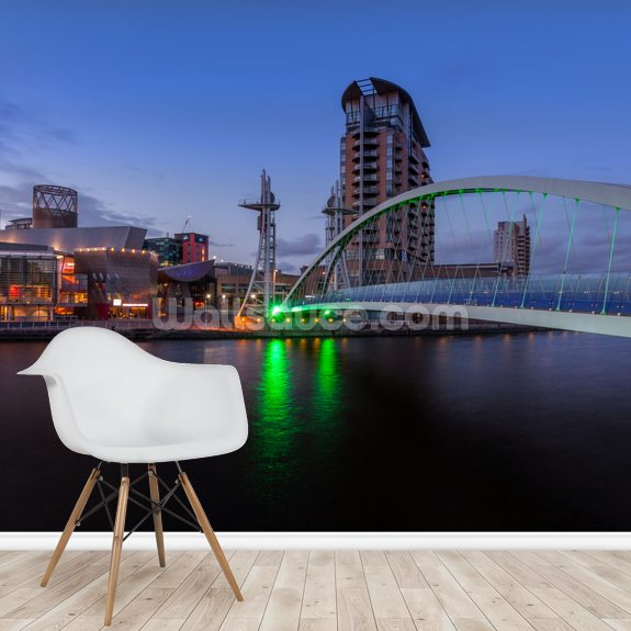 Salford Quays Lift Bridge Night mural wallpaper room setting