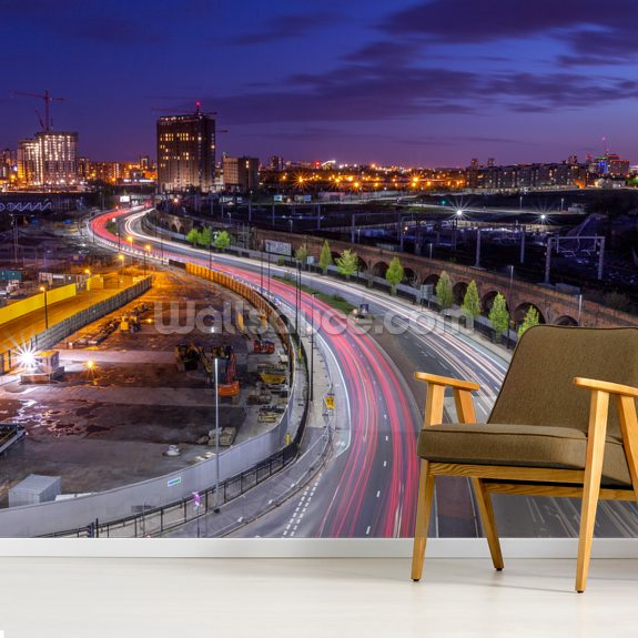 Manchester Skyline wallpaper mural room setting