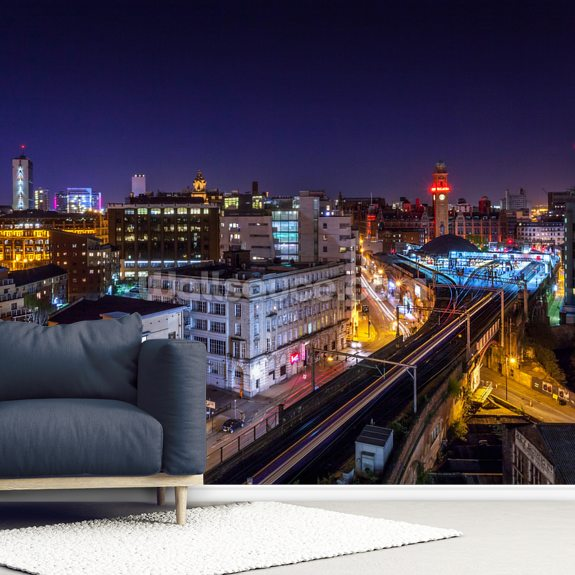 Manchester Oxford Road Skyline mural wallpaper room setting