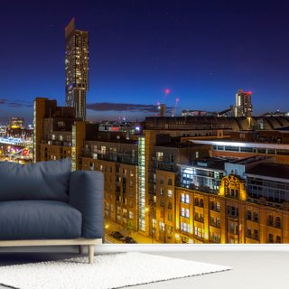 Manchester Skyline Stars Wallpaper Wall Murals
