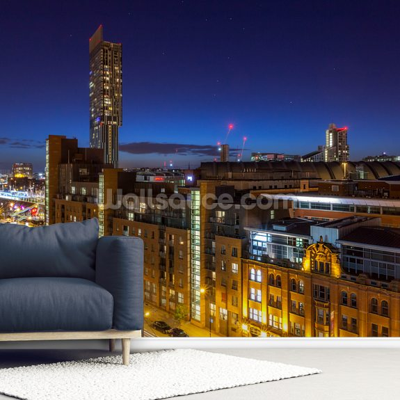 Manchester Skyline Stars wall mural room setting