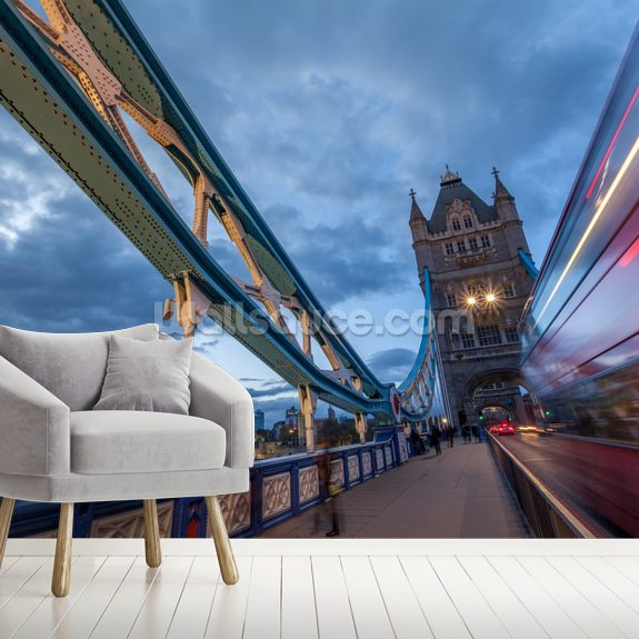London Tower Bridge Bus mural wallpaper room setting