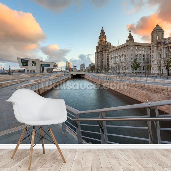 Liverpool Liver Building Sunrise mural wallpaper room setting