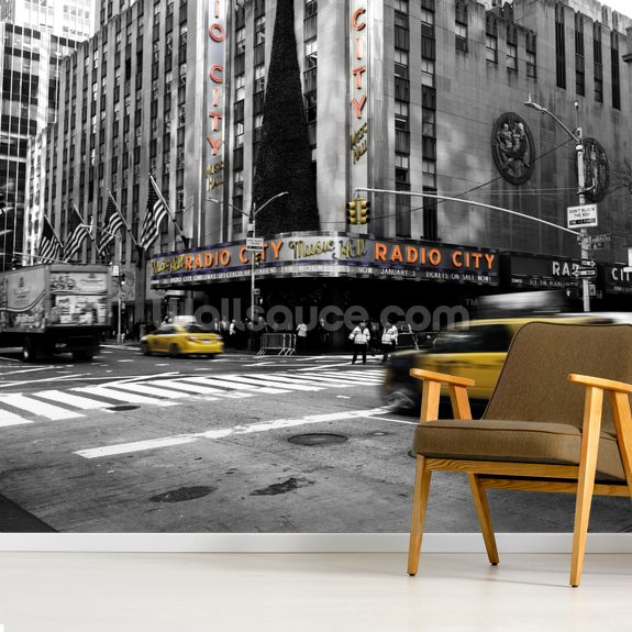 New York City Cab wallpaper mural room setting