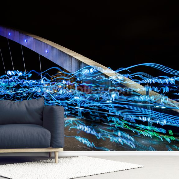Salford Quays Lightshow wall mural room setting