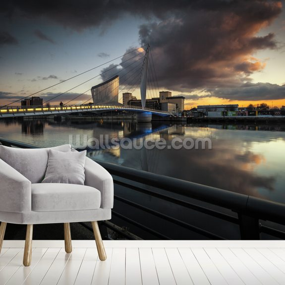 Media City Sunset wallpaper mural room setting