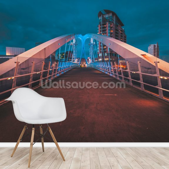 Salford Quays Bridge wall mural room setting